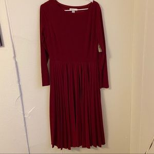 Cold water Creek Red Pleated Dress Size 12 NWT